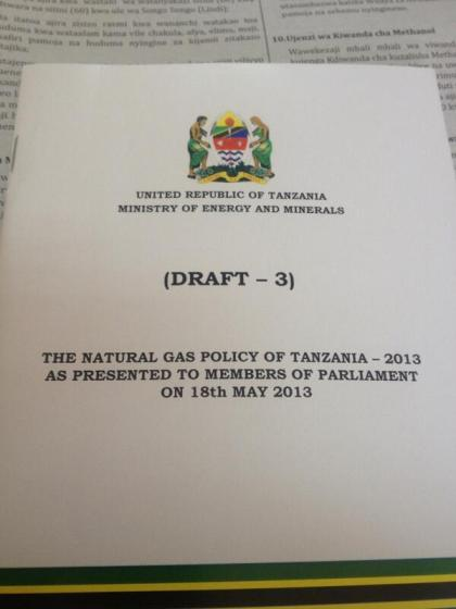 Draft 3- The Natural Gas Policy of Tanzania -2013to be presented to MPs tomorrow